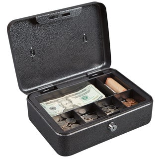 Hercules CB1007 Key Locking Cash Box with 6 Compartment Tray, Recycled Steel, Silver Vein