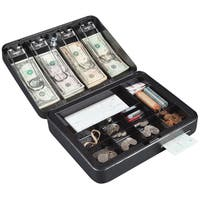 Hercules CB1209 Key Locking Cash Box with 9 Compartment Tray, Recycled Steel, Silver Vein