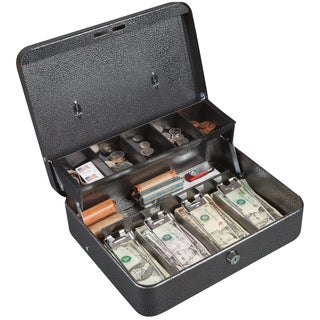 Hercules CB1210 Key Locking Cash Box with 5 Compartment Tray, Recycled Steel, Silver Vein