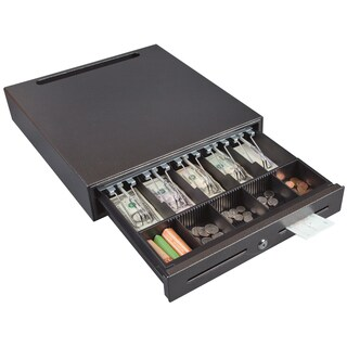 Hercules CD1618 Cash Drawer with Key Lock, POS Cable Management, 2 Bill Slots, Steel, Silver Vein
