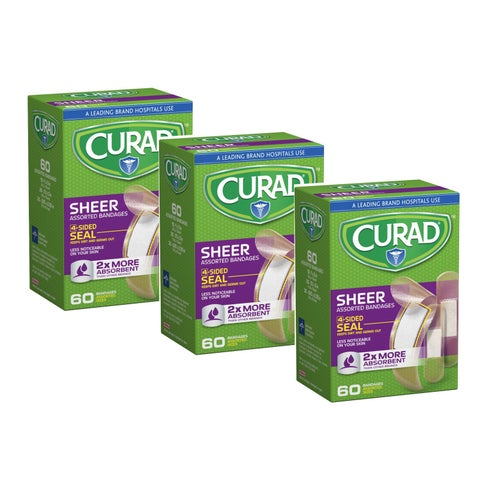Curad 60-Count Sheer Bandages Assorted Sizes (Pack of 3)