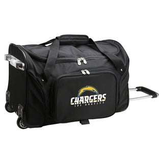NFL Los angeles Chargers 22in Wheeled Duffel Nylon Bag in Black
