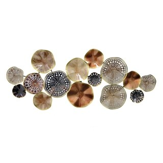 Three Hands Circular Cluster Metal Wall Decoration In Neutral Tones