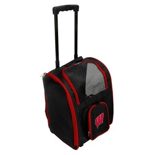 NCAA Wisconsin Pet Carrier Premium bag with wheels in Red