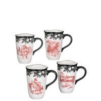 Old Fashioned Christmas Mugs-Set of 4