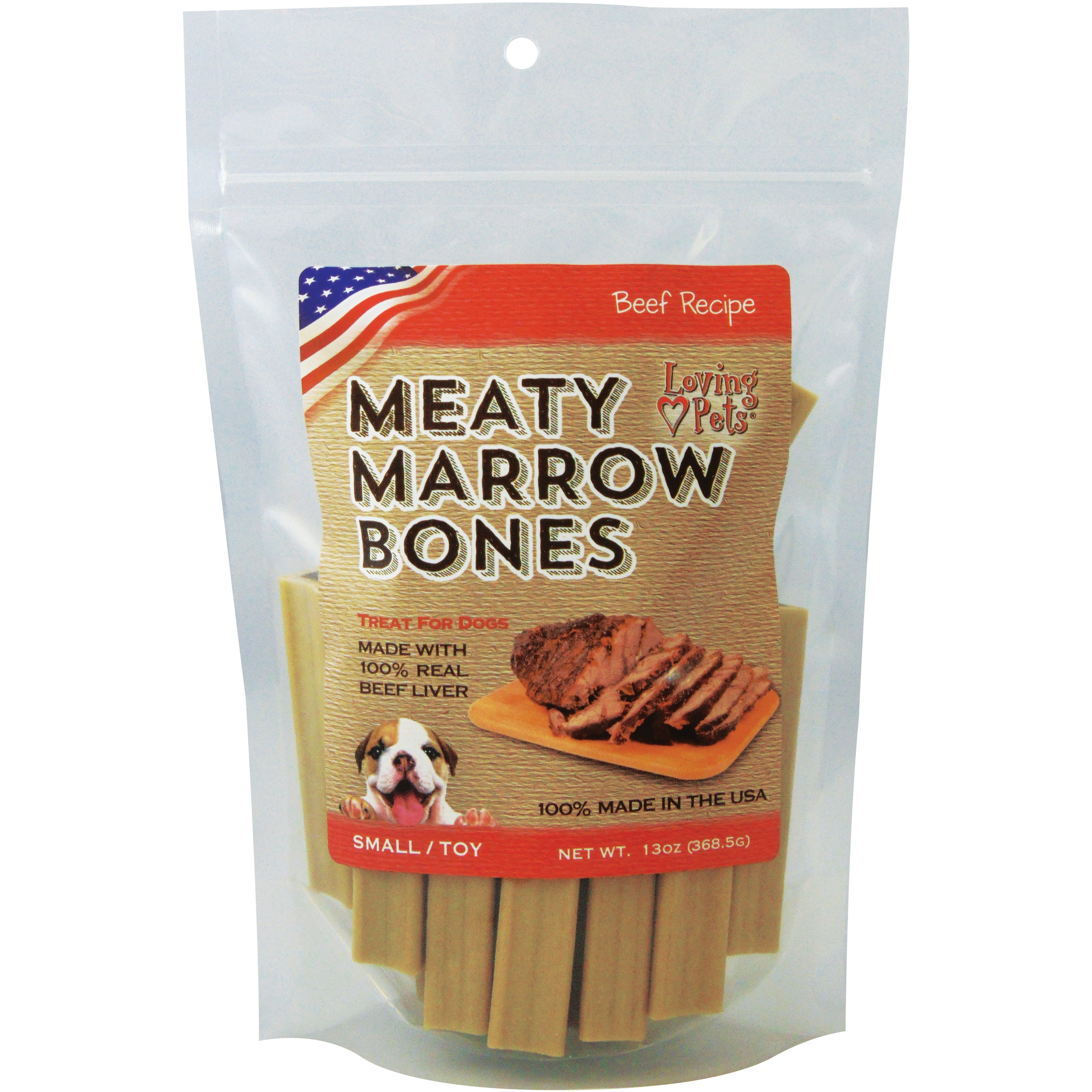 Loving Pets Small Meaty Marrow Bones 13oz (13oz), Grey