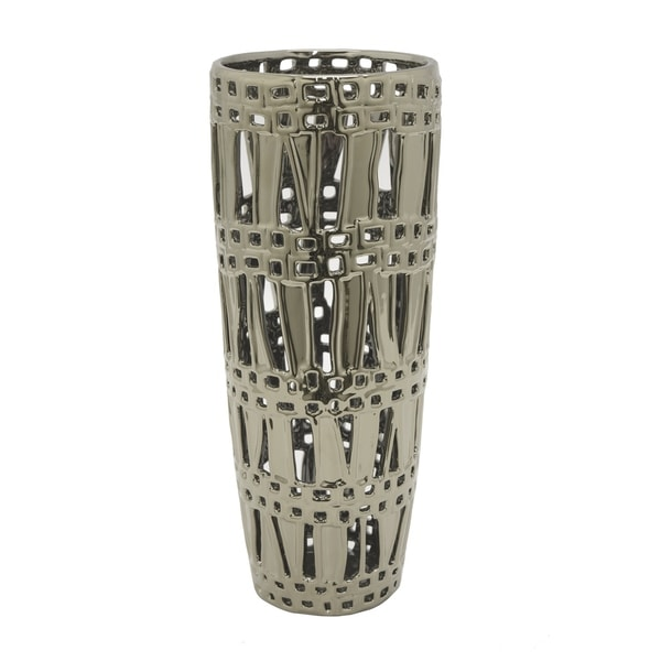 Three Hands Silver Pierced Ceramic Vase