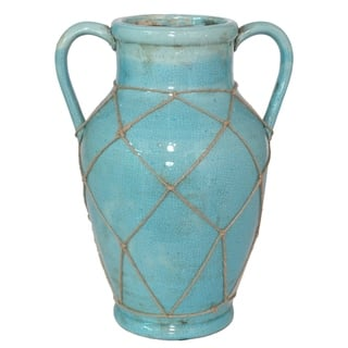 Three Hands Ceramic Vase With Twine Detail Blue