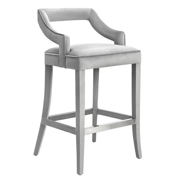 Admirable Shop Tiffany Grey Velvet Bar Stool Free Shipping Today Machost Co Dining Chair Design Ideas Machostcouk