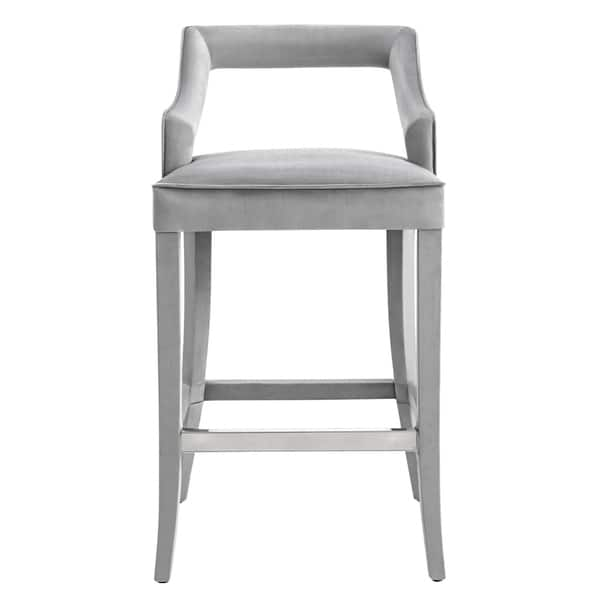 Magnificent Shop Tiffany Grey Velvet Bar Stool Free Shipping Today Machost Co Dining Chair Design Ideas Machostcouk