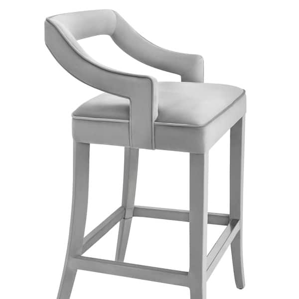 Terrific Shop Tiffany Grey Velvet Bar Stool Free Shipping Today Machost Co Dining Chair Design Ideas Machostcouk