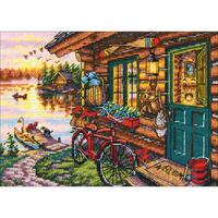 Gold Petite Cabin View Counted Cross Stitch Kit