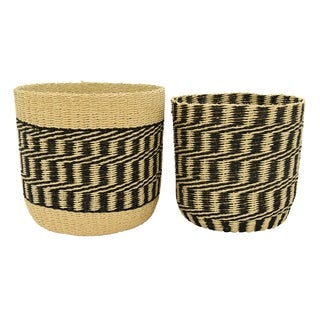 Three Hands Set Of Two Paper Rope Basket