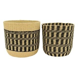 Three Hands Set Of Two Paper Rope Basket - l13x13x12.25 * m 11.75x11.75x11 *