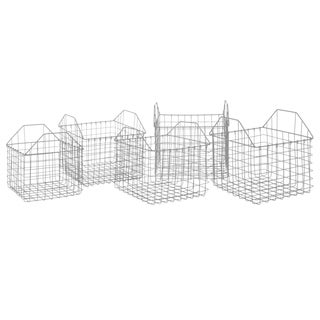 Three Hands Set Of Five Metal Basket - Silver