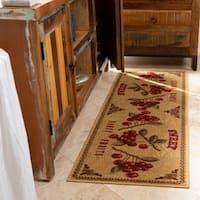"""Ottomanson Siesta Collection Kitchen Fruits Design Non-Slip Beige Runner Rug, - 1'6"""" x 5'"""