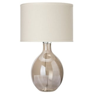Round Grey Glass Table Lamp with Sea Salt Linen Drum Shade