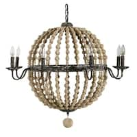 Round Wood Beaded Chandelier