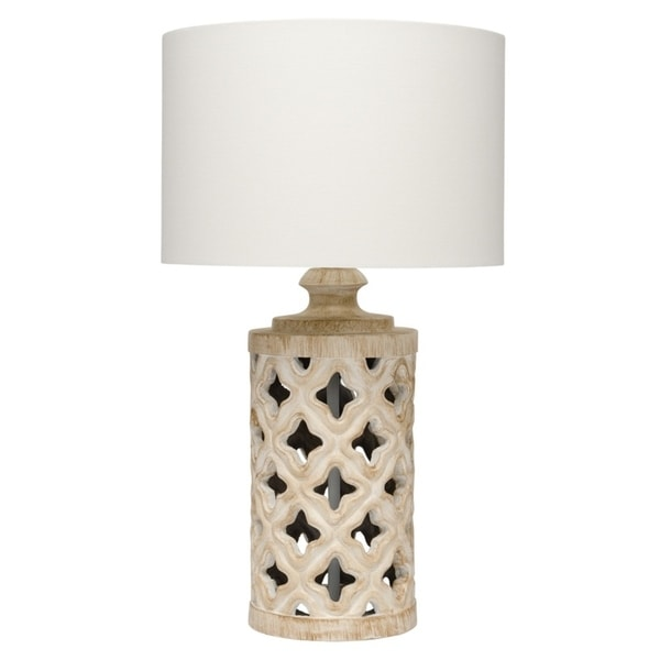 Alden Décor tarlet Table Lamp in White Washed Resin
