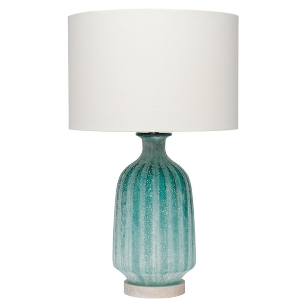 Aqua Frosted Table Lamp with Lamp Shade