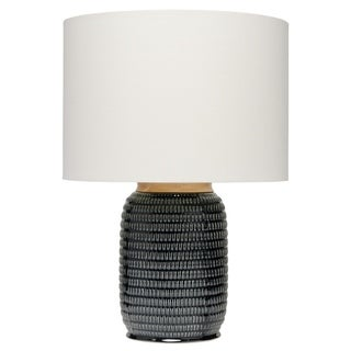 Navy Blue Ceramic/ Brass Table Lamp with Linen Lamp Shade
