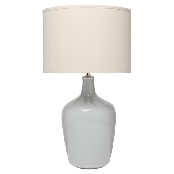 Plum Jar Table Lamp in Dove Grey Ceramic with Drum Shade