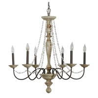 Alden Décor Maybel Chandelier in Washed Wood and Crystal