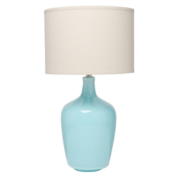 Blue Plum Jar Table Lamp with Drum Lamp Shade