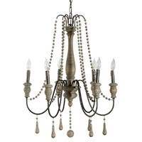 Alden Décor Dunaway Chandelier in Grey Washed Wood