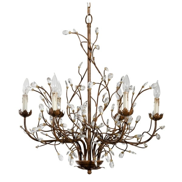 6 Light Iron Branch Chandelier Rust