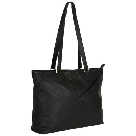 Kenneth Cole Reaction Pebbled Leather Fashion-Forward K-Pocket Top Zip 15-inch Laptop Business Tote Bag