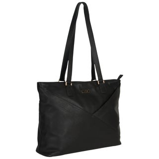 Kenneth Cole Reaction Pebbled Leather Fashion-Forward K-Pocket Top Zip 15-inch Laptop Tote Bag