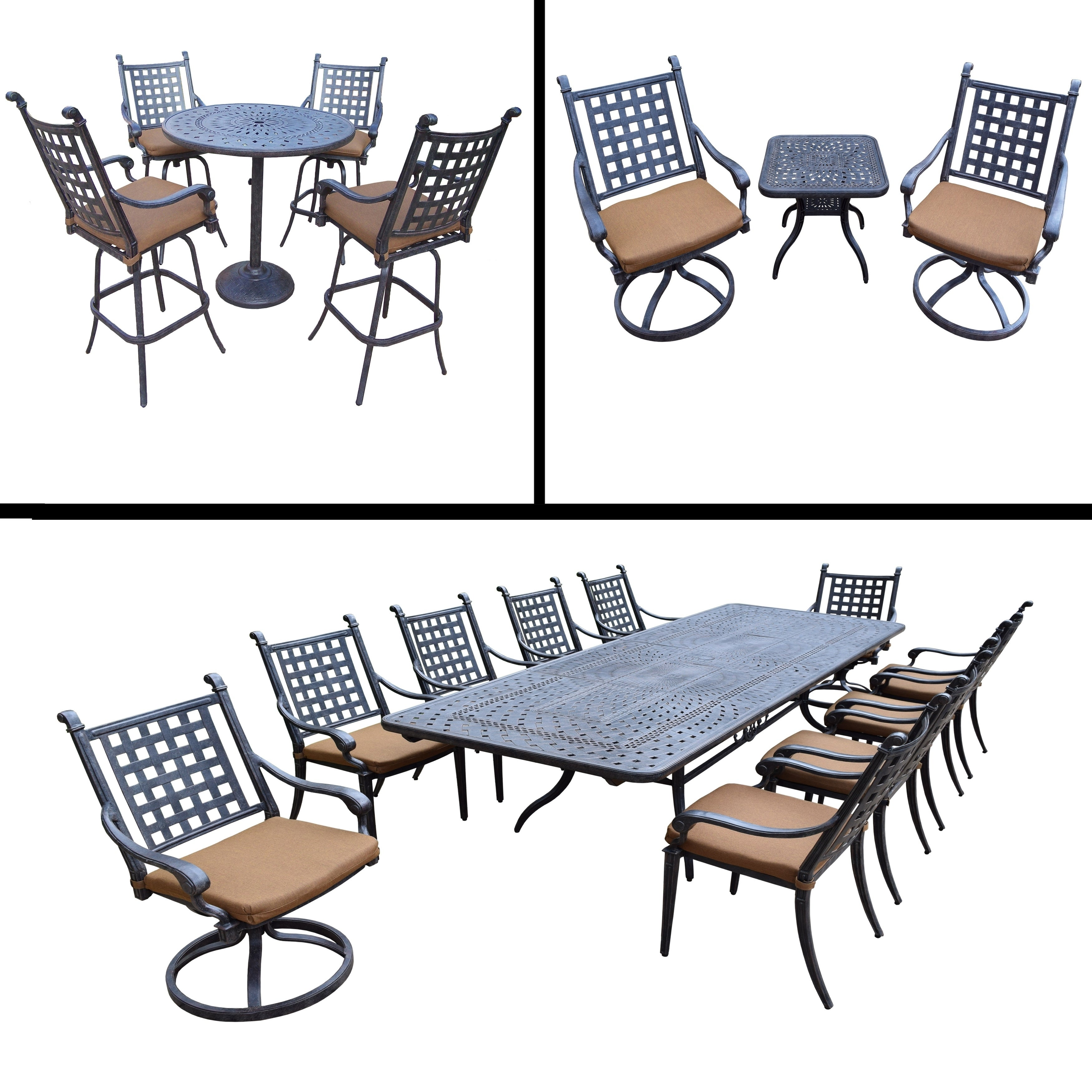 Premier Sunbrella Cushioned Set Includes 5 Pc Bar Set, 11 Pc Dining Set  With Extendable