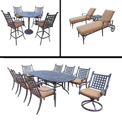 Premier Sunbrella Cushioned Set includes 9 Pc Dining Set, 5 Pc Bar Set and 3 Pc Chaise Lounge Set