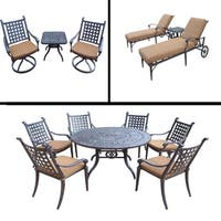Premier Sunbrella Cushioned Set includes 7 Pc Dining Set, 3 Pc Chaise Lounge Set and 3 Pc Swivel Rocker Chat Set