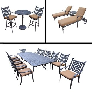 Sunbrella Cushioned Set includes 13 Pc Dining Set with Extendable Table & 12 Chairs, 3 Pc Bar Set and 3 Pc Chaise Lounge Set