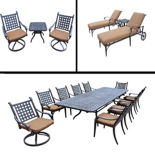 Sunbrella Cushioned Set includes 11 Pc Dining Set with Extendable Table, 3 Pc Chaise Lounge Set and 3 Pc Swivel Rocker Set