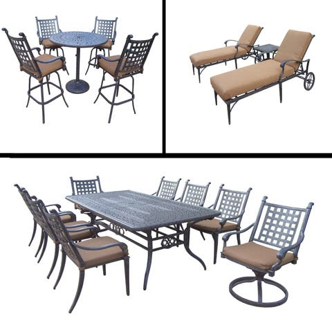 Premier Sunbrella Cushioned Set includes 5 Pc Bar Set, 9 Pc Dining Set with Extendable Table and 3 Pc Chaise Lounge Set