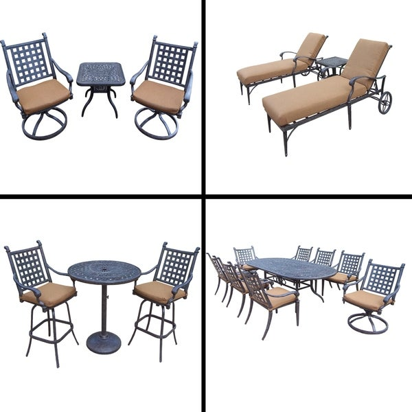 Premier Sunbrella Cushioned Set with 9 Pc Dining Set, 3 Pc Bar Set, 3 Pc Chaise Lounge Set and 3 Pc Swivel Rocker Chat Set