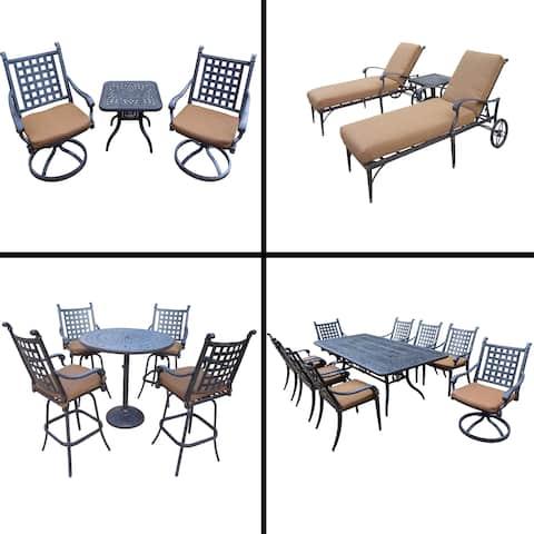 Sunbrella Cushioned Set with 5 Pc Bar Set, 9 Pc Dining Set, Rectangle Table, 3 Pc Chaise Lounge Set and 3 Pc Swivel Rocker Set