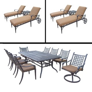 Premier Sunbrella Cushioned Set includes 9 Pc Dining Set with Extendable Table and Two 3 Pc Chaise Lounge Sets