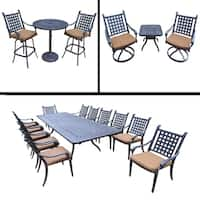 Sunbrella Cushioned Set includes 13 Pc Dining Set with Extendable Table & 12 Chairs, 3 Pc Bar Set and 3 Pc Swivel Rocker Set