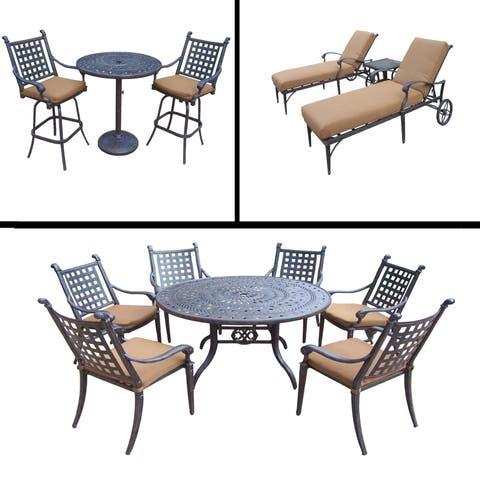 Premier Sunbrella Cushioned Set includes 3 Pc Bar Set, 7 Pc Dining Set and 3 Pc Chaise Lounge Set