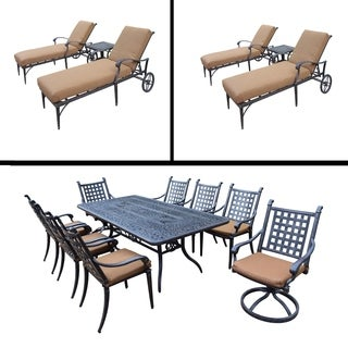 Premier Sunbrella Cushioned Set includes 9 Pc Dining Set with Rectangle Table and Two 3 Pc Chaise Lounge Sets