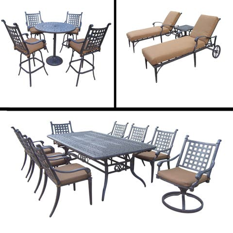 Sunbrella Cushioned Set includes 5 Pc Bar Set, 9 Pc Dining Set with Extendable Table and 3 Pc Chaise Lounge Set