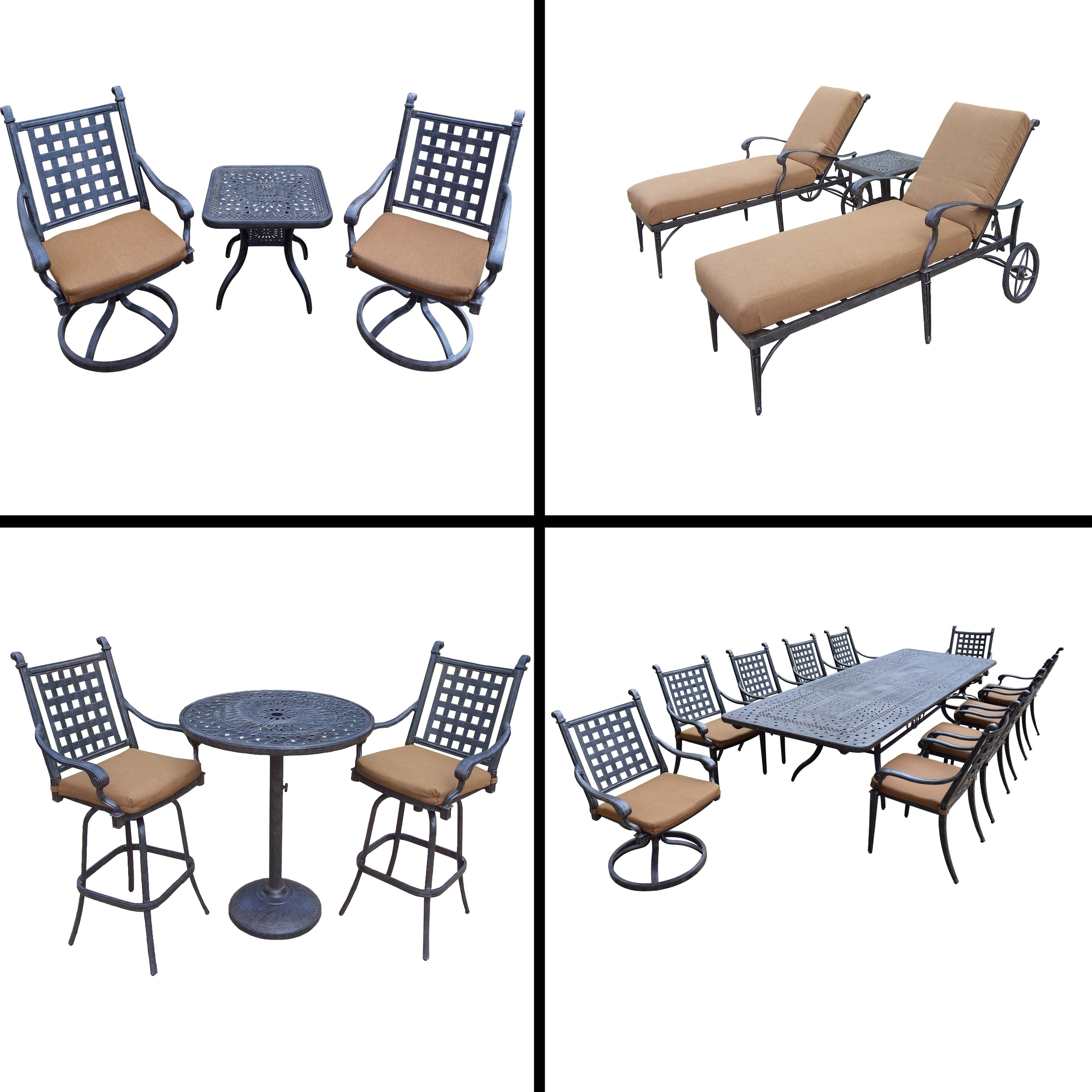 Premier Sunbrella Cushioned Set with 11 Pc Dining Set, 3 ...