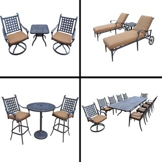 Premier Sunbrella Cushioned Set with 11 Pc Dining Set, 3 Pc Bar Set, 3 Pc Chaise Lounge Set and 3 Pc Swivel Rocker Chat Set