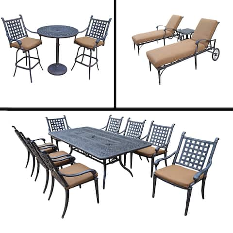 Sunbrella Cushioned Set includes 3 Pc Bar Set, 9 Pc Dining Set with 8 Stackable Chairs and 3 Pc Chaise Lounge Set