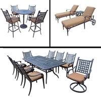 Sunbrella Cushioned Set includes 5 Pc Bar Set, 9 Pc Dining Set with Rectangular Table and 3 Pc Chaise Lounge Set