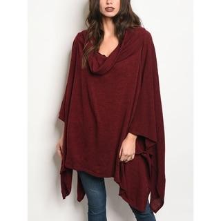 JED Women's Burgundy Cowl Neck Knit Poncho Sweater
